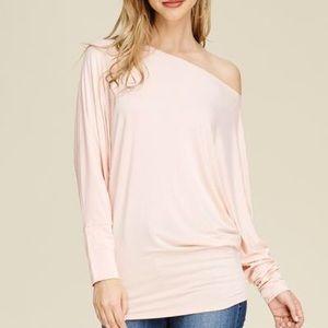 belleamejanice Tops - Dolman Sleeve Solid Knit Top Blush Pink